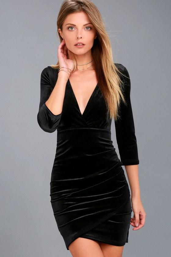 Stunning Black Velvet Dress - Bodycon Dress - Surplice Dress ad856119d