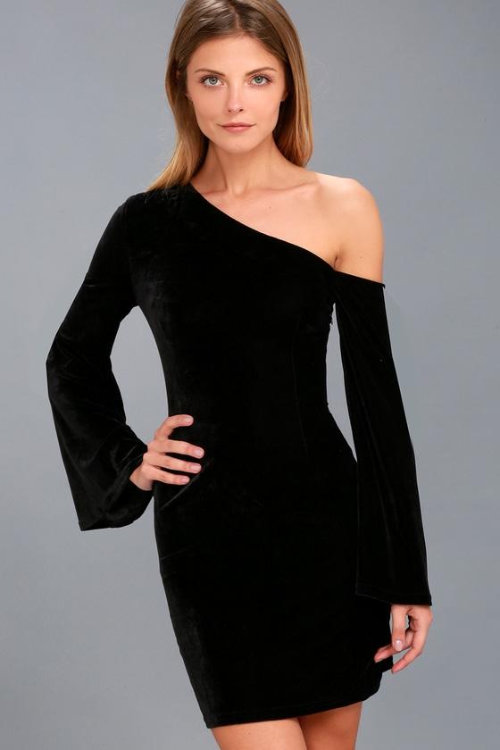 3e6eb2b3e9 Black Velvet Dress - Bell Sleeve Dress - Bodycon Dress