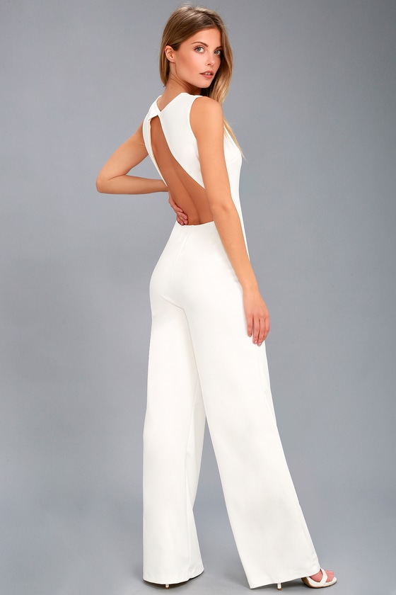 50b2fbbbd2a Sexy White Jumpsuit - Backless Jumpsuit - Wide-Leg Jumpsuit