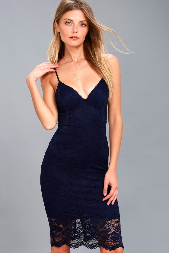 Versailles Navy Blue Lace Bodycon Midi Dress