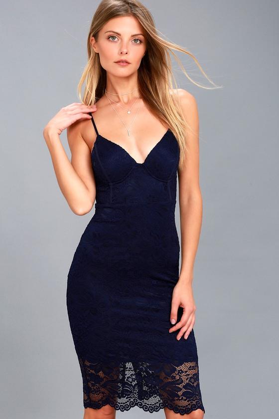 Gorgeous Lace Dress - Lace Midi Dress - Bustier Dress
