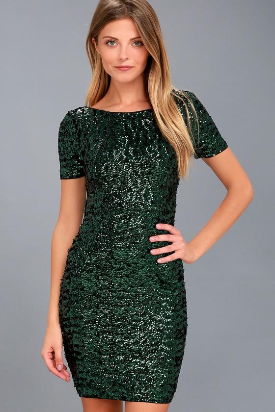 Pretty Green Sequin Dress - Bodycon Dress - Sequin Bodycon
