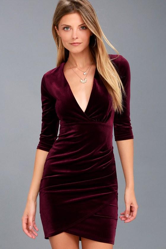 Anything For You Burgundy Velvet Bodycon Dress - Lulus