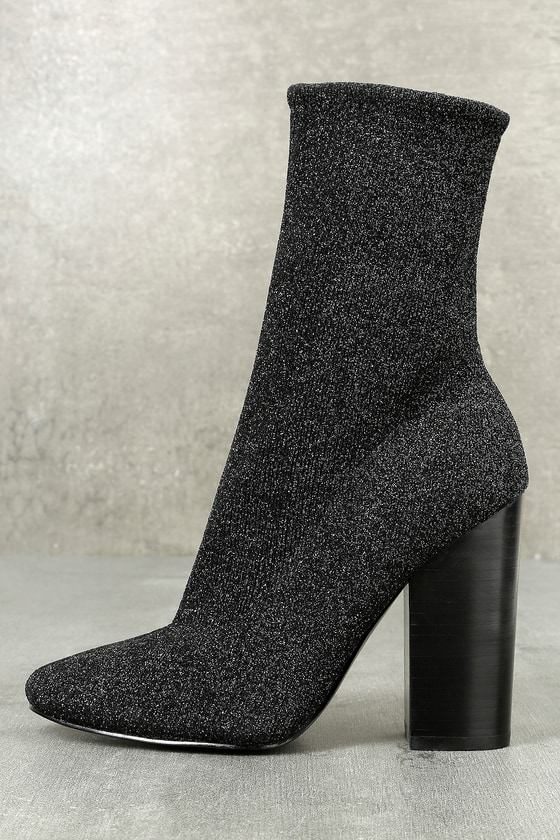 Hailey Black Multi Mid-Calf Sock Booties 1