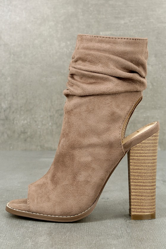 Only the Latest Taupe Suede Peep-Toe Booties 1