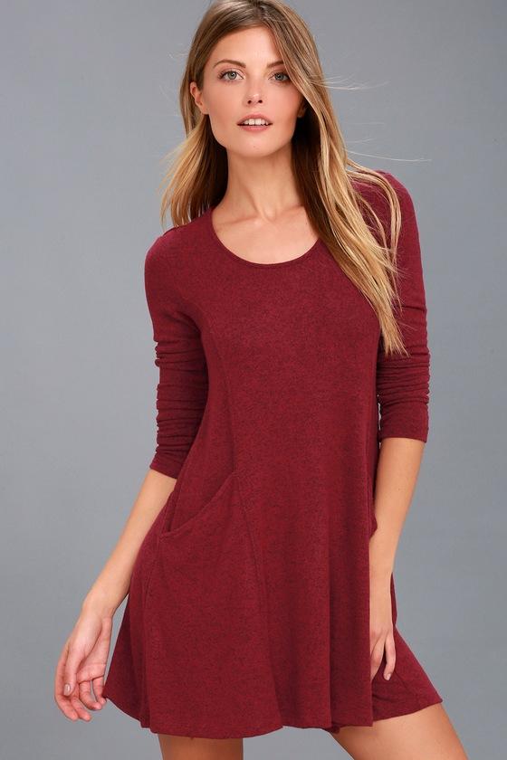 514497d2630f Cute Burgundy Dress - Long Sleeve Dress - Sweater Dress