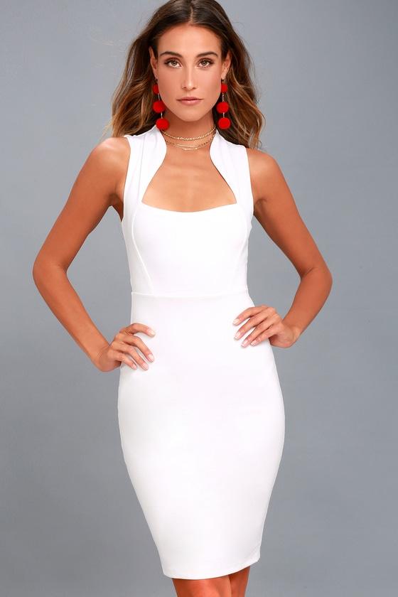 Curve Enthusiasm White Sleeveless Bodycon Dress 3