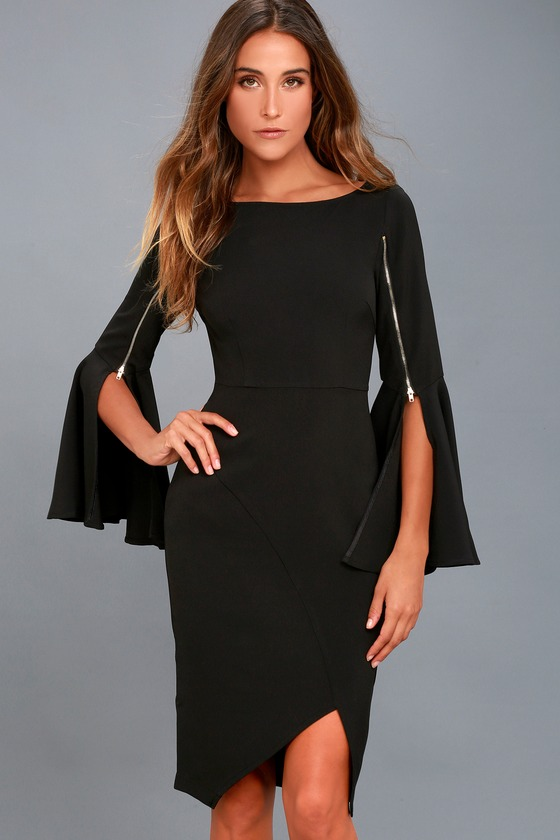 Chic Black Midi Dress - Long Sleeve Dress - Bodycon Dress 5402ded19