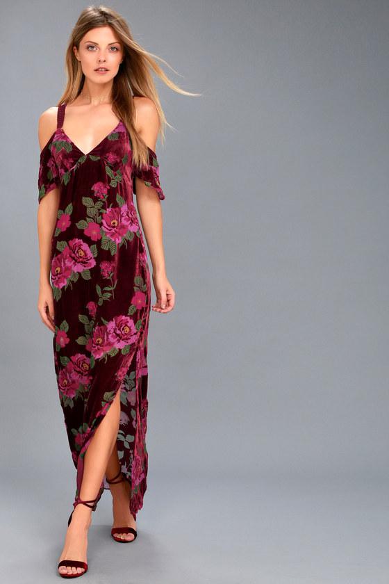 Bouquet Burgundy Floral Print Off-the-Shoulder Maxi Dress 1