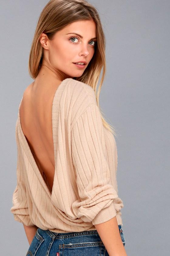 Sweetest Dreams Light Beige Backless Sweater Top 1