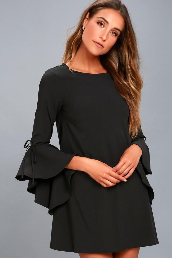 184eb09540 Chic Black Dress - Flounce Sleeve Dress - Shift Dress