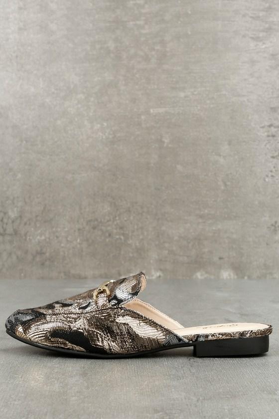 Atlantic City Black and Rose Gold Embroidered Loafer Slides 1