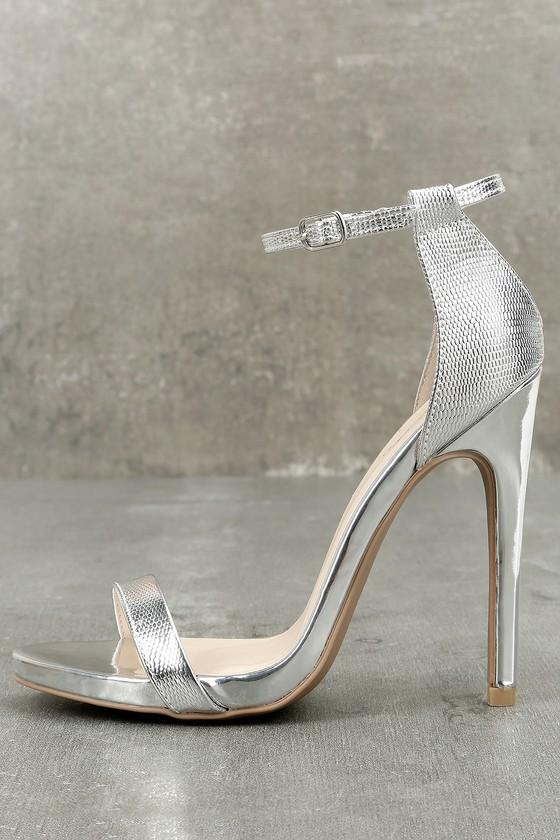 chic silver heels metallic heels ankle strap heels