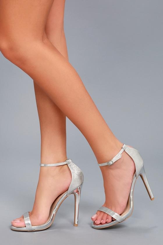 6d57573cc47 Chic Silver Heels - Metallic Heels - Ankle Strap Heels