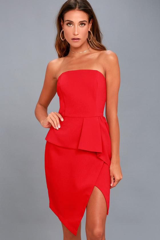 Samantha Red Strapless Peplum Dress 3