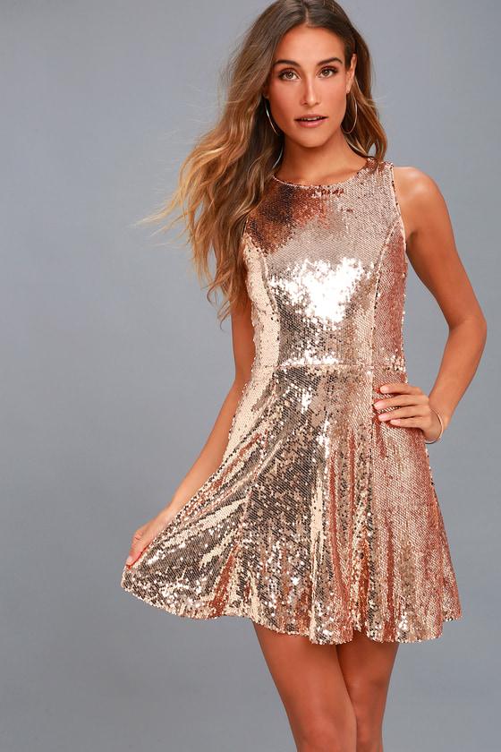 City Dreams Rose Gold Sequin Sleeveless Skater Dress 1