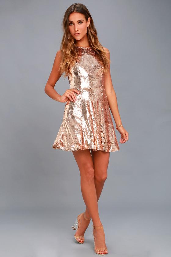 18ca5d5435a City Dreams Rose Gold Sequin Sleeveless Skater Dress
