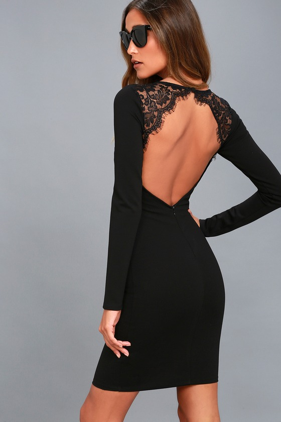 16903ef64d2 Black Lace Dress - Bodycon Dress - Long Sleeve Dress -  54.00
