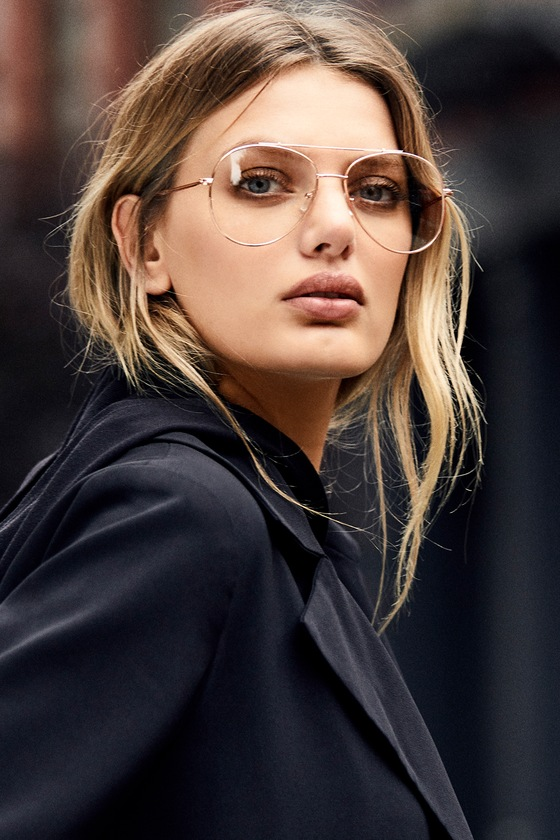 Nantes Clear and Rose Gold Aviator Glasses 4
