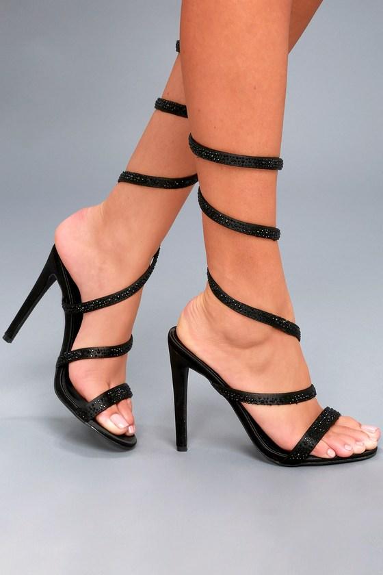 Sexy Spiral Strap Heels Rhinestone Heels Spiral Heels