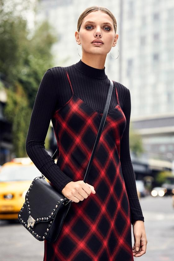 804c0431e457 Cute Black Top - Long Sleeve Top - Ribbed Knit Top