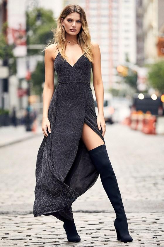 Black And Silver Dress Wrap Maxi Dress Metallic Dress