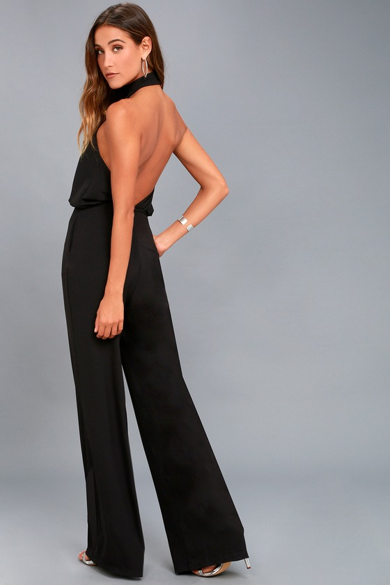 Chic Black Jumpsuit Black Halter Jumpsuit Wide Leg