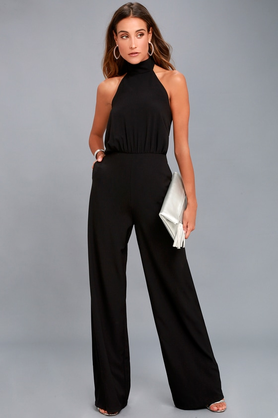 d824b68518 Chic Black Jumpsuit - Black Halter Jumpsuit - Wide Leg Jumpsuit