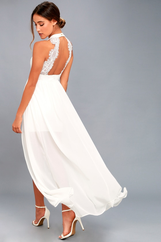 lovely white lovely white maxi dress lace wedding dress lulus 9169