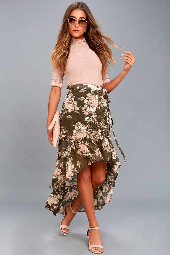 Tiffany Olive Green Floral Print High-Low Wrap Skirt 1