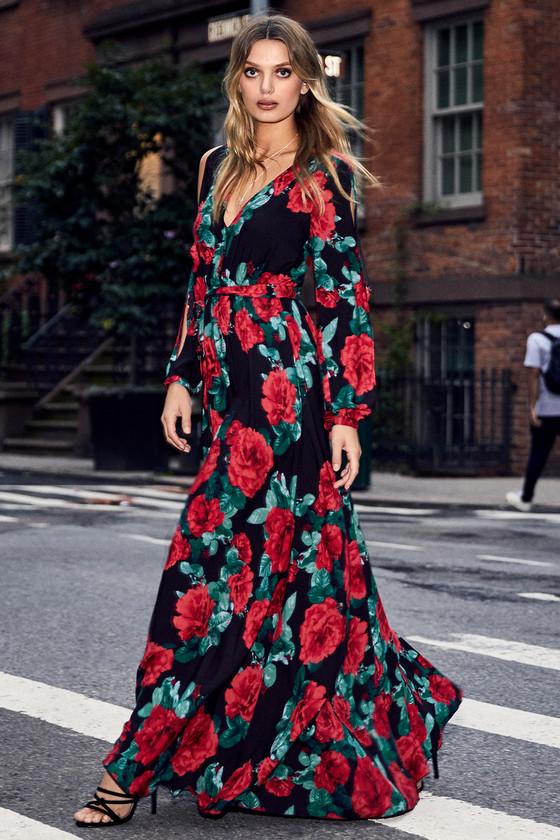 e23898f5dd1d Strike a Rose Black Floral Print Long Sleeve Maxi Dress