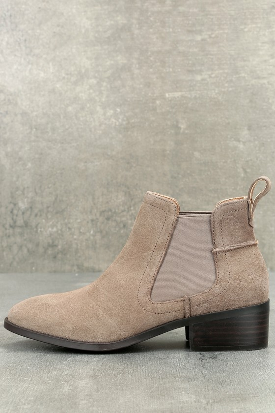 Dicey Taupe Suede Leather Ankle Booties 1
