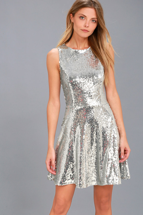 City Dreams Silver Sequin Sleeveless Skater Dress 1