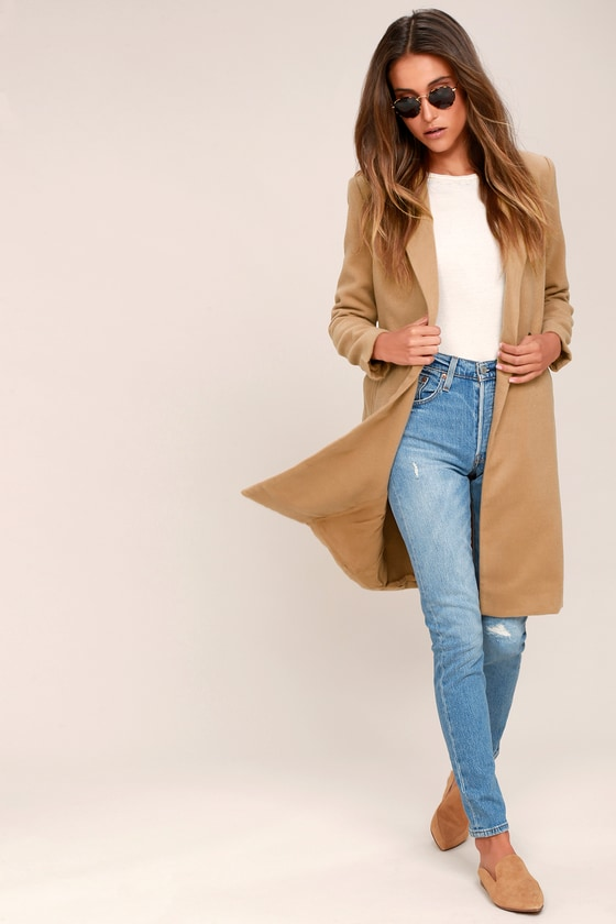 aec30b57a928 Chic Coat - Long Coat - Tan Coat - Felt Coat - Classic Coat