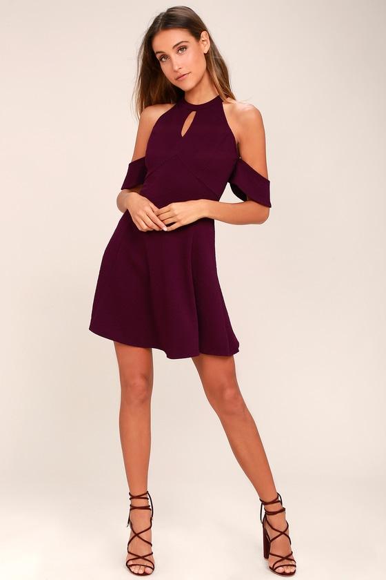 df144212487 Head Over Heels Plum Purple Off-the-Shoulder Skater Dress
