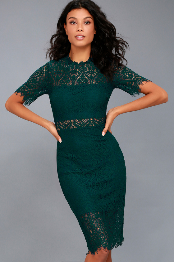 Remarkable Forest Green Lace Dress 5