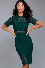 74e1943cf21f0 Cute Green Dress - Chenille Sweater Dress - Mock Neck Dress