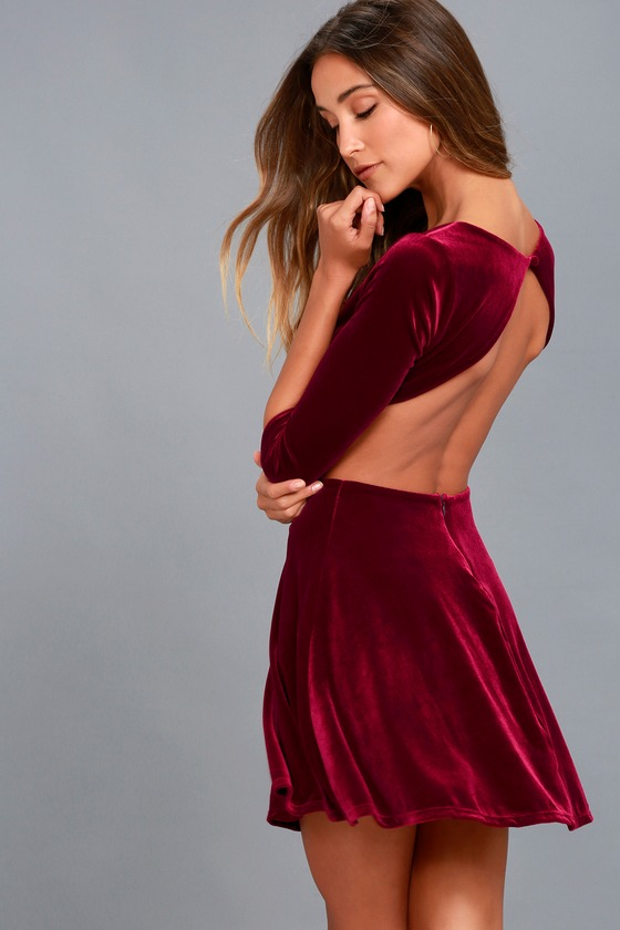 Charisma and Charm Burgundy Velvet Backless Dress 1