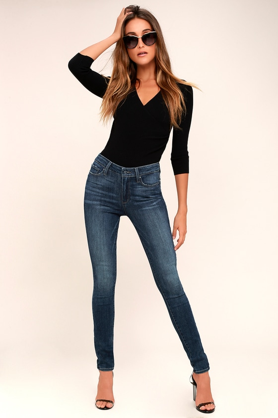 PAIGE Hoxton - High-Waisted Jeans - Dark Wash Jeans