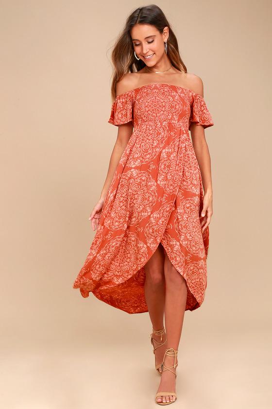 Aviva Terra Cotta Print Off-the-Shoulder Midi Dress 1