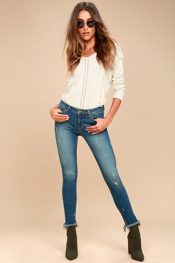 Hermosa Medium Wash Frayed Skinny Jeans 1