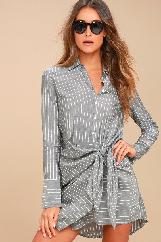 Poised and Proper Grey Striped Knotted Shirt Dress 2