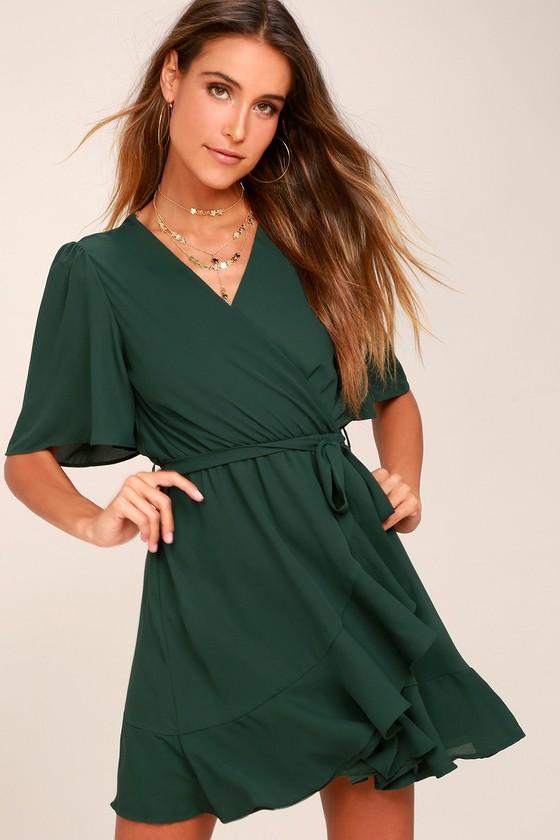 Absolute Affection Forest Green Wrap Dress 3