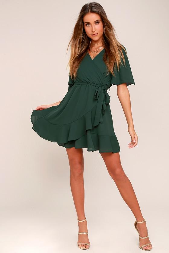 8b4413c2b23 Cute Green Dress - Ruffle Dress - Wrap Dress - Short Dress