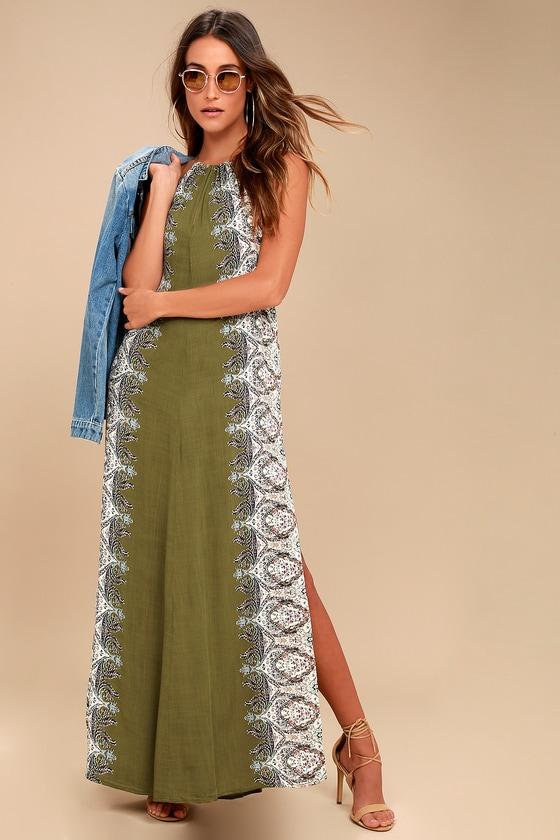 Brinkley Olive Green Print Maxi Dress 1