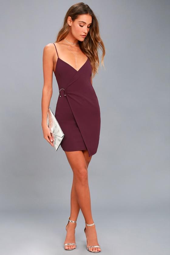 3171498363c002 Chic Plum Purple Dress - Bodycon Dress - Wrap Dress
