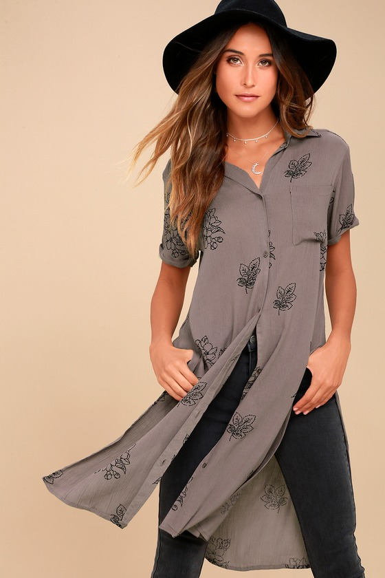 Thora Grey Floral Print Button-Up Maxi Top 1