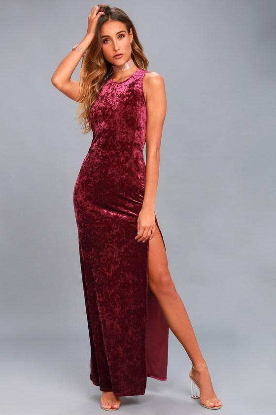 e1aa1f0b4f4 Chic Burgundy Dress - Velvet Dress - Maxi Dress