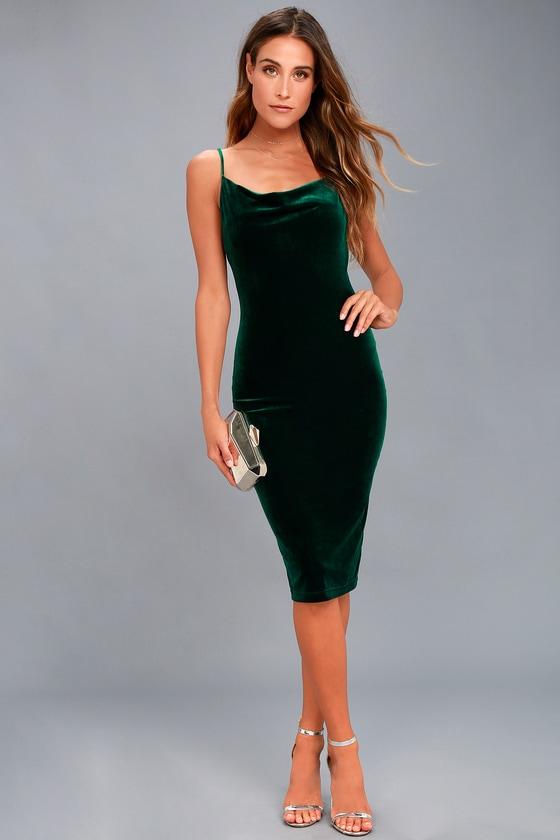 f6ca1ffed05 Dark Green Velvet Dress - Velvet Bodycon Dress - Midi Dress