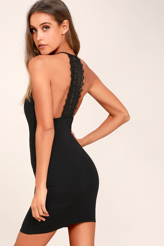Federica Black Crocheted Lace Bodycon Dress